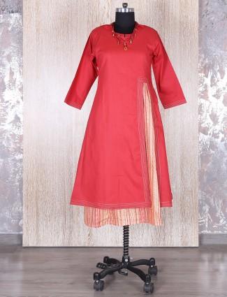 Cotton double layered pink kurti