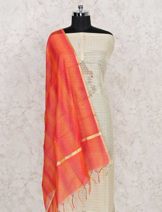 Cotton dress material in beige and orange color