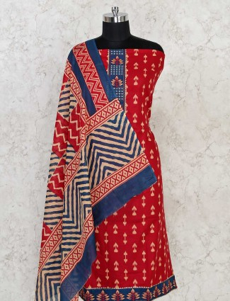 Cotton dress material in red and blue