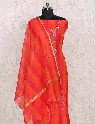 Cotton embroidery dress material design in orange