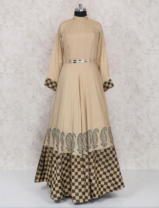 Cotton fabric beige color anarkali suit