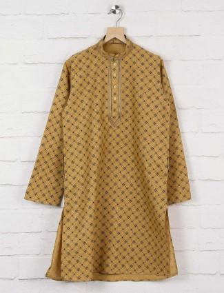 Cotton fabric beige festive printed kurta suit