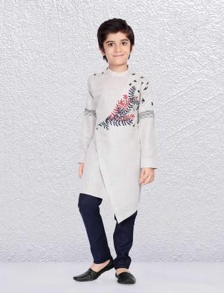 Cotton fabric beige kurta suit for boy