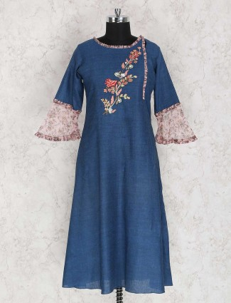 Cotton fabric blue solid kurti
