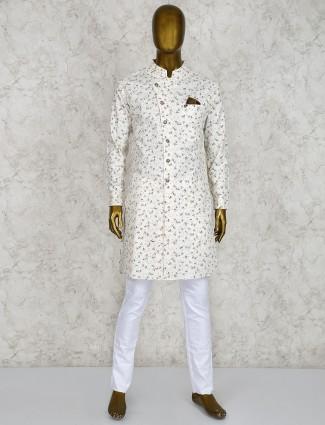Cotton fabric cream printed pattern kurta suit