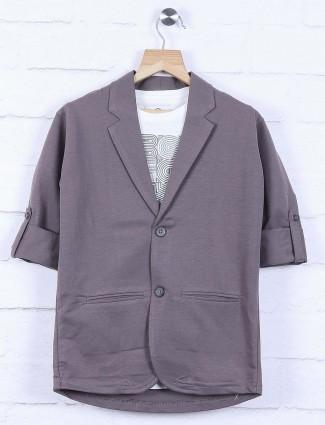 Cotton fabric dark grey colored blazer