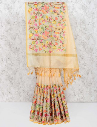 Cotton fabric lovely saree in yellow