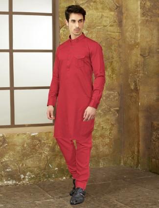 Cotton fabric magenta festive pathani suit
