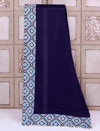 Cotton fabric navy saree
