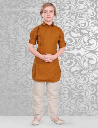 Cotton fabric orange pathani suit