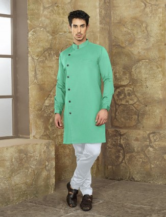 Cotton fabric pastle green kurta suit