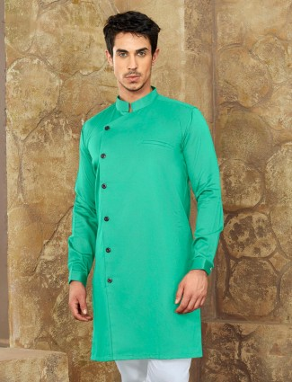 Cotton fabric pastle green short pathani