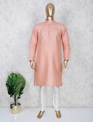 Cotton fabric peach color festive kurta suit