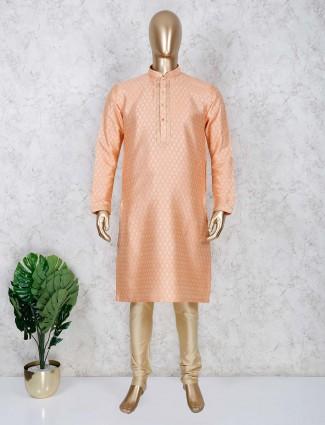 Cotton fabric peach kurta suit for festive