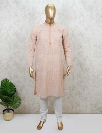 Cotton fabric peach mens kurta suit