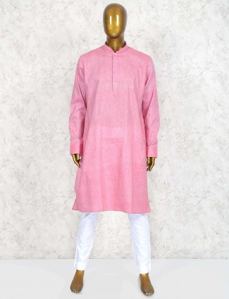 Cotton fabric pink colored solid kurta suit