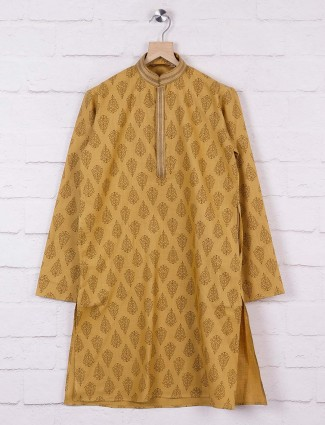 Cotton fabric printed beige hue kurta suit