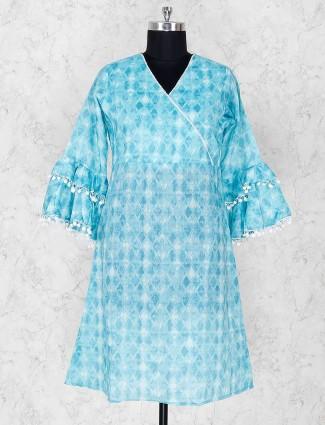 Cotton fabric printed blue kurti