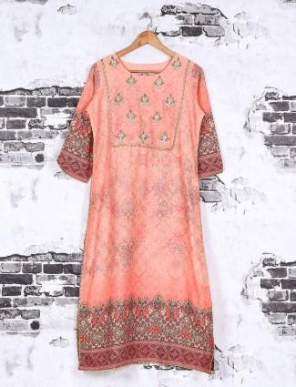 Cotton fabric printed pink kurti
