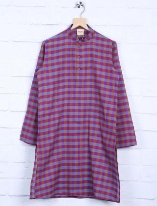 Cotton fabric purple checks kurta suit