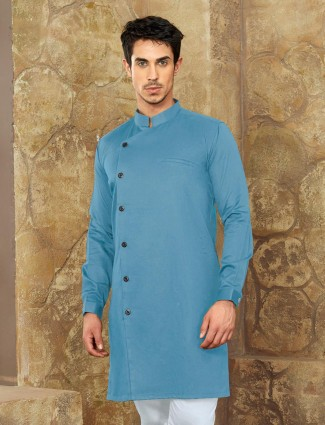 Cotton fabric sky blue short pathani