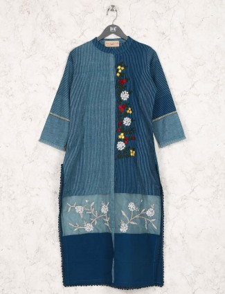 Cotton fabric stripe blue hue kurti