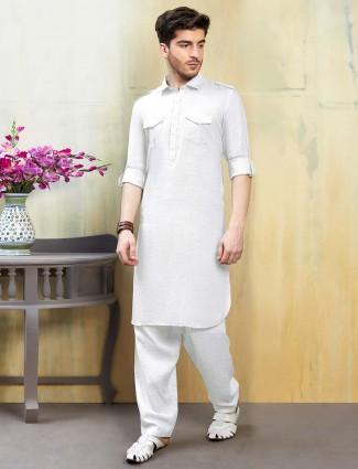 Cotton fabric white hue pathani suit