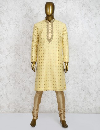 Cotton fabric yellow stand collar kurta suit