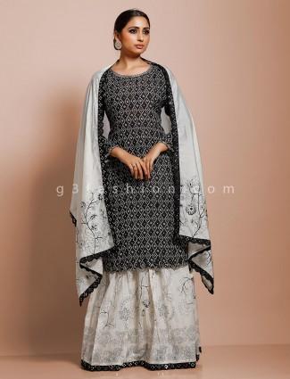 Cotton festive black printed palazzo suit