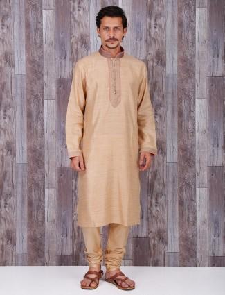 Cotton festive cream kurta suit
