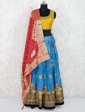 Cotton festive lehenga choli in yellow color