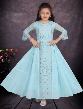 Cotton festive wear aqua flared anarkali suit