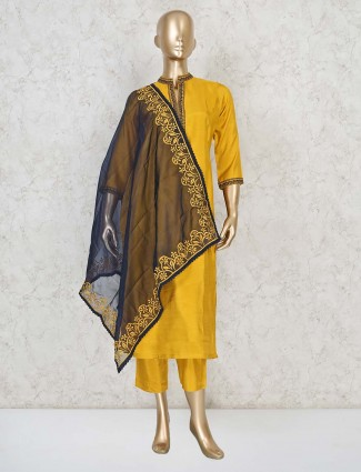 Cotton festive wear punjabi pant suit in yellow
