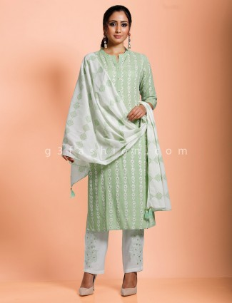 Cotton green exclusive punjabi pant set