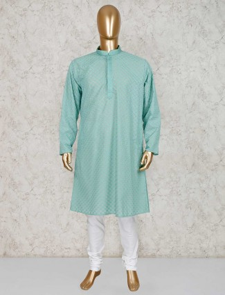 Cotton green festive kurta suit