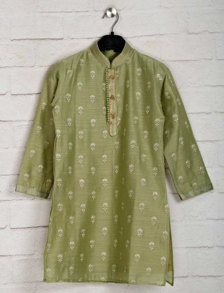 Cotton green festive wear kurta with churidar