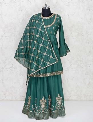 Cotton green festive wear punjabi lehenga suit