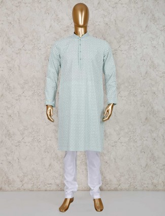 cotton green kurta suit