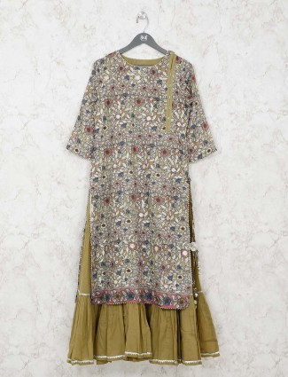 Cotton green printed double layer kurti
