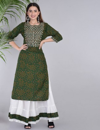 Cotton green printed sharara suit