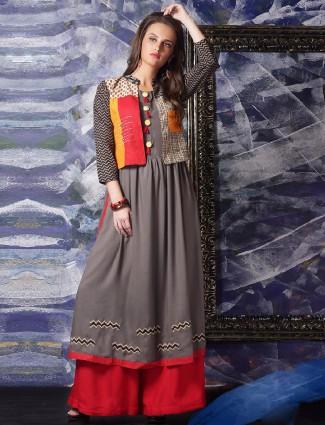 Cotton grey festive wear kurti