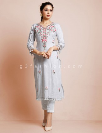 Cotton grey kurti for festive days