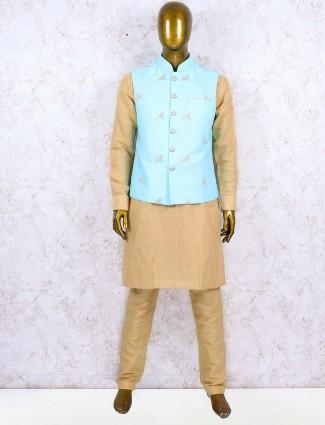 Cotton jute aqua color party wear waistcoat set