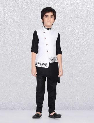 Cotton jute black and white waistcoat set