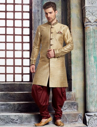 Cotton jute gold kurta suit