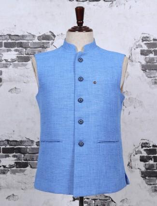 Cotton jute sky blue waistcoat