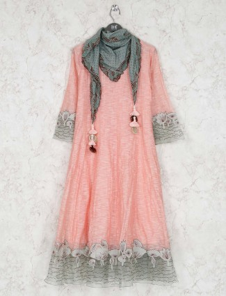 Cotton kurti in peach color
