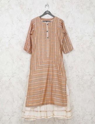 Cotton kurti in printed orange double layer style