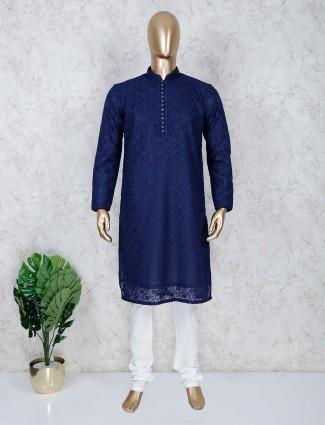 Cotton lakhnavi work navy kurta suit
