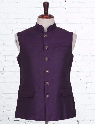 Cotton linen plain purple waistcoat